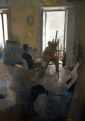 'At the studio' Oil on wood, 116 x 89 cm. *SOLD*