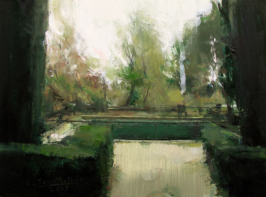 'Garden (El Capricho, Madrid)' Oil on wood, 18 x 24 cm. *SOLD*