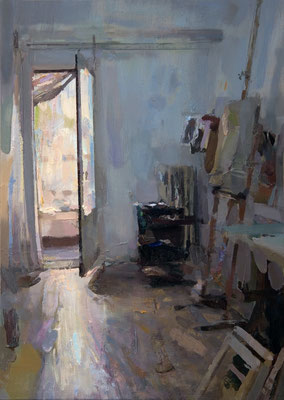 'Morning view of the studio' Oil on wood, 50 x 35 cm. *SOLD*