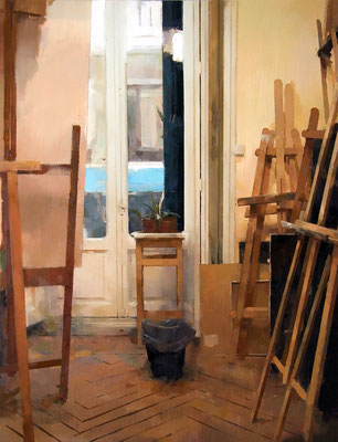 'A.H.'s studio' Oil on wood, 65 x 50 cm. *SOLD*