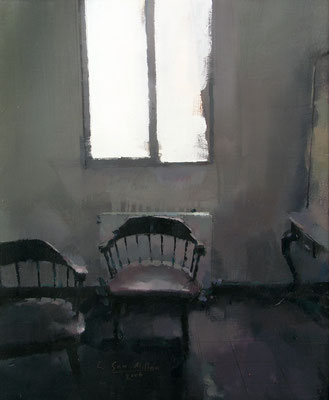 'Two chairs' Oil on wood, 46 x 38 cm. *SOLD*