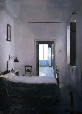 'Interior (old bedroom') Oil on wood, 46 x 33 cm. *SOLD*