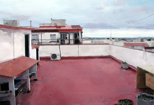 'Terrace in Gavà #2' Oil on wood, 38 x 55 cm. *SOLD*