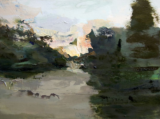 'English garden #28' Oil on wood, 32 x 43 cm. *SOLD*