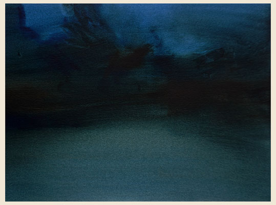 'Nocturne garden #2' Oil on Arches paper, 31 x 23 cm. Available on New Blood Art