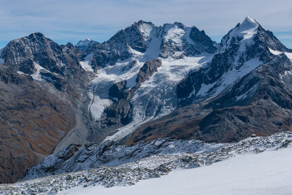 Aussicht vom Corvatsch (3303 müM): Piz Bernina