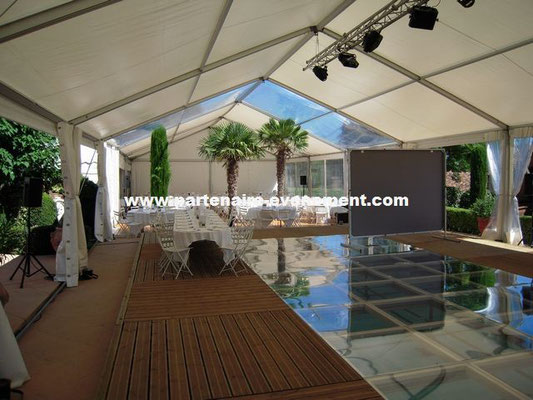 Tente sur piscine, couverture piscine