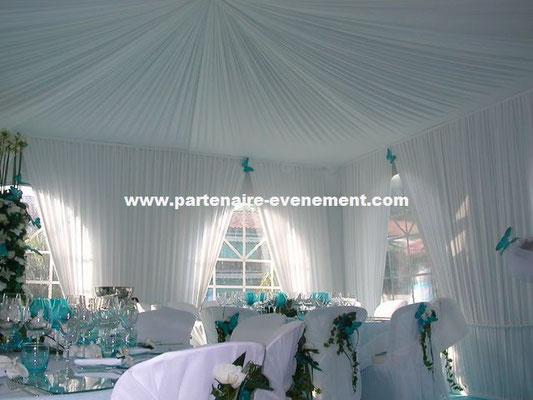 Vélum et rideaux plissés mariage