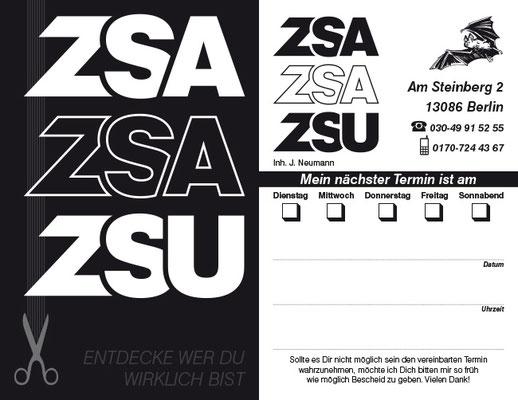 """Visiten-/Terminkarte Friseur """"ZSA ZSA ZSU"""""""