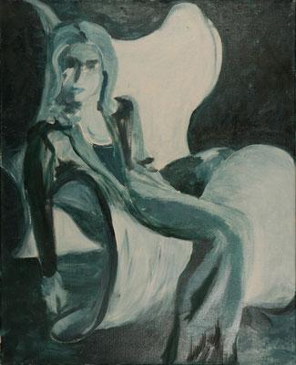 """""""Hingegossen"""",  Öl/Lw., 80 x 65 cm"""