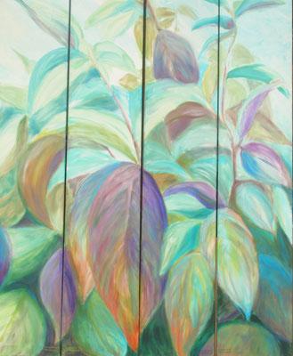 """Blätterwald"", Öl/Lw., 4-teilig, je 180 x 30 cm"