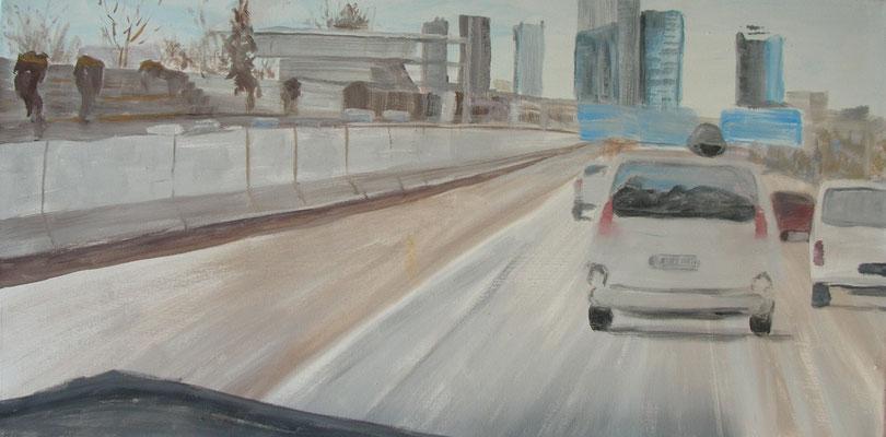 """""""Unterwegs ....Wien III"""", Ei-Tempera/Lw., 50 x 100 cm"""
