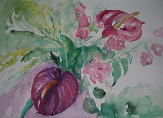 """""""Bereit zum Verschenken"""", Aquarell, 48 x 36 cm"""
