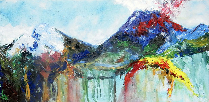 """Blauer Berg"",  Öl/Lw., 60 x 120 cm"