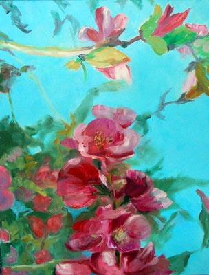 """""""Japanische Quitte"""", Ei-Tempera/Lw., 80 x 60 cm"""