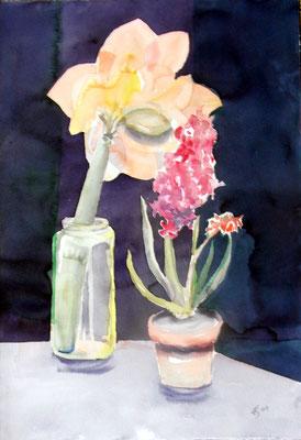"""Amaryllis und Hyazinthe"", Aquarell, 48 x 36 cm"