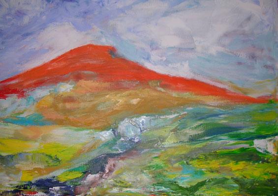 """Roter Berg"",  Öl/Lw., gespachtelt, 60 x 80 cm"