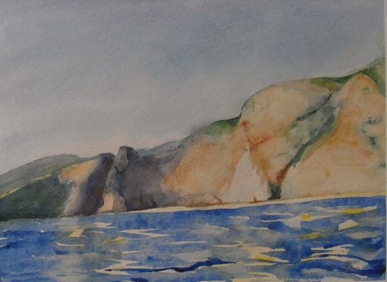 """""""Küste in Kreta"""", Aquarell, 40 x 50 cm"""