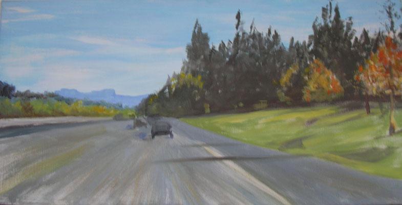 """Autobahn Steiermark"", Ei-Tempera/Lw., 40 x 80 cm"