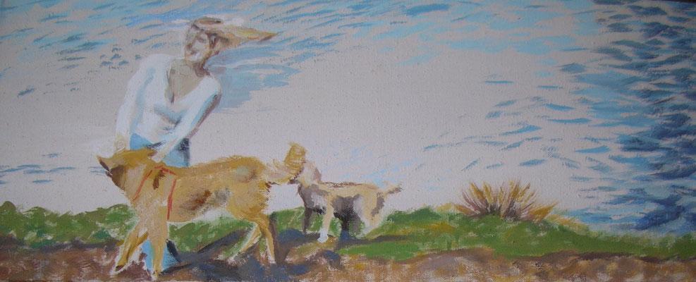 """""""Sehr windig"""", Ei-Tempera/Lw., 40 x 100 cm"""