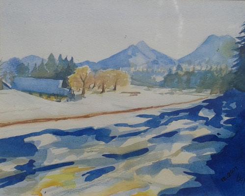 """""""Bauernhof mit Mittagskogel"""", Aquarell, 30 x 40 cm"""
