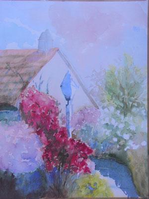"""Rosengarten"", Aquarell, 48 x 36 cm"