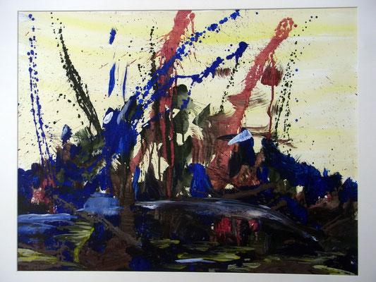 """""""Spiegelung"""", Ei-Tempera/Papier, 75 x 88 cm"""