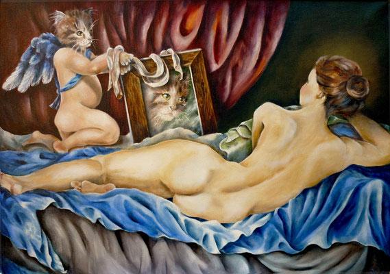 Hommage àVelasques, Venus et son fils 50x70