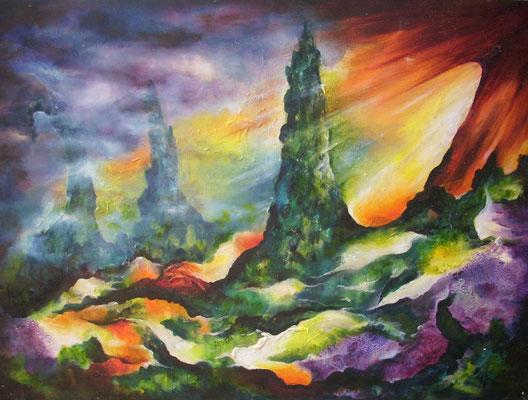 Landschaft mit Zypressen  50x70