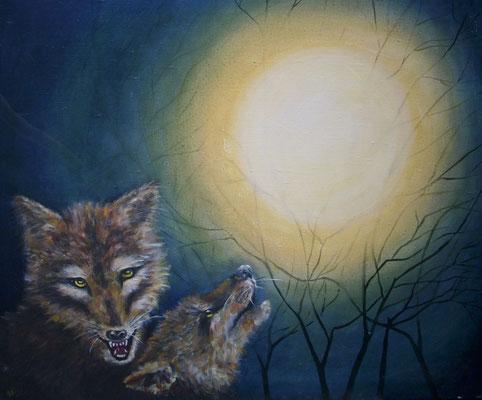 Wolf und Mond 60x73