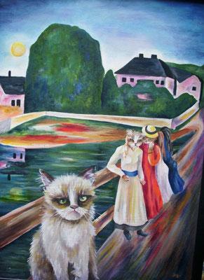 H.à Munch Auf der Bruecke 50x70