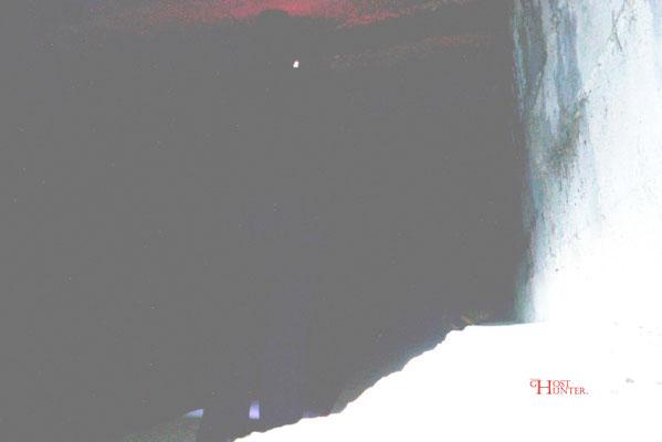 Hier sieht man im unteren Teil die Beine und im Oberen den Kopf. Der leuchtende Fleck kommt von der Ohrlampe.