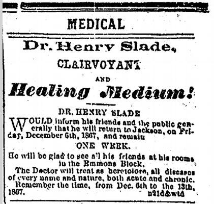 Inserat von Henry Slade, Dezember 1867. #Slade #Medium #paranormal #ghosthunters