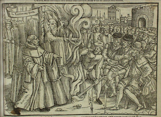 Thomas Cranmer's execution, burning in 1556. John Foxe's Book of Martyrs (1563)
