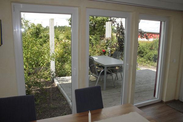 Wohnung Buche - Wohnen Blick zur Terrasse