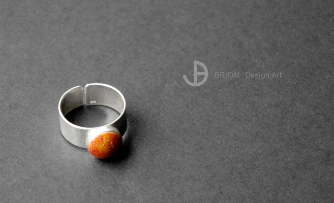 Ring Porzellan, chili glasiert, 925er Silber vs, D 10mm