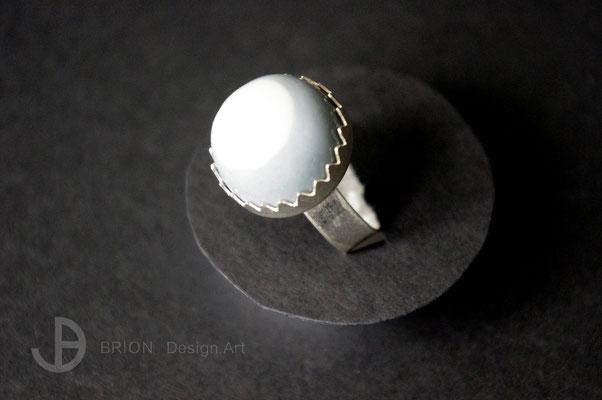 Ring Porzellan, halb blau eingefärbt, transparent glasiert, 925er Silber vs, D 18mm