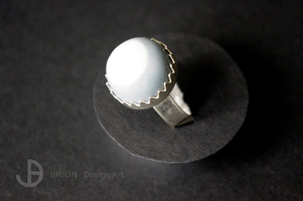 Ring Porzellan, halb blau eingefärbt, transparent glasiert, D 18mm, 925er Silber verstellbar, 39,00 bei DaWanda und Schlemmerkeller Modau