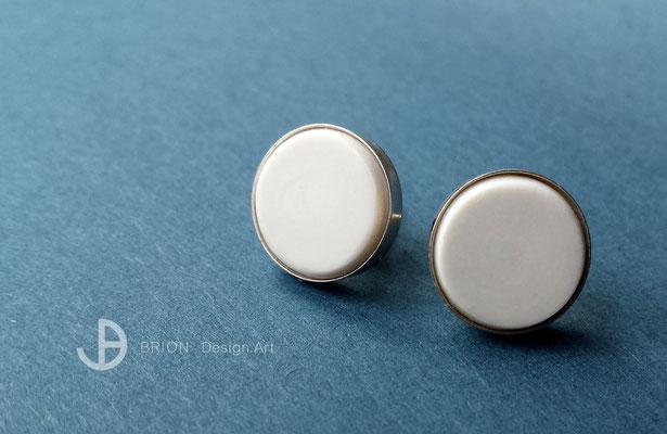 Ohrstecker, Porzellan, matt, glatt handgeschliffen, 925er Silber, D 12mm, 55,00