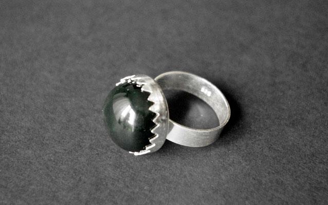 Ring Porzellan, schwarz glasiert, 925er Silber vs, D 18mm