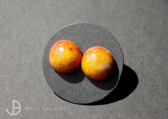 Ohrstecker Porzellan, halbrund, chili glänzend, D 10mm, 925er Silber, 29,00 bei DaWanda