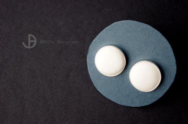 Ohrstecker, Porzellan, matt, handgeschliffen, 925er Silber, D 12mm