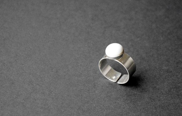 Ring Porzellan, matt, 925er Silber vs, D 10mm