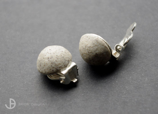 Ohrclips Porzellan, halbrund, grau eingefärbt, matt, 925er Silber, D 13mm