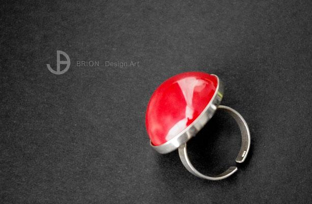 Großer Ring, Porzellan, spanischrot, D 25mm, H 13mm, 925er Silber verstellbar, 69,00 bei Etsy