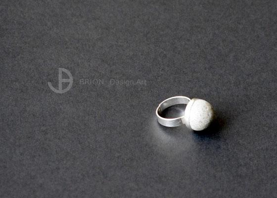 Ring Porzellan, braun gefärbt matt, 925er Silber vs,  D 15mm