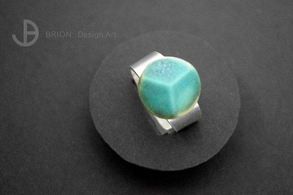 Ring Porzellan, 3fach Schliff, karibik matt glasiert, 925er Silber vs, D 17mm