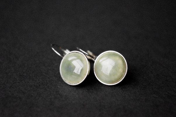 Ohrhänger Porzellan, grün glasiert, Edelstahl, D 12mm