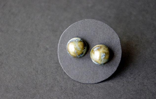 Ohrstecker Porzellan, halbrund, gletscher glasiert, 925er Silber, D 8mm