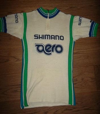 Shimano Aero wielertrui 1979. Origineel, wol gelabeld made in Italy, medium. Bij koop kost deze trui 60 euro
